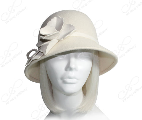 Mr. Song Millinery Cashmere-Soft Felt Bucket Cloche Hat - White