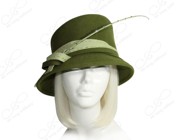 Mr. Song Millinery Luxuriously Soft Felt Cloche Hat With Slant Crown - Olive Green