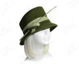 Luxuriously Soft Felt Cloche Hat With Slant Crown - Olive Green
