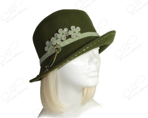 Mr. Song Millinery Softest Felt Bucket Fedora Cloche Hat With Bias Brim - Olive Green