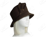 Softest Felt Slant Crown Bucket Cloche Hat - Brown