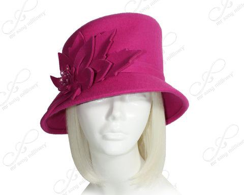 Mr. Song Millinery Softest Felt Bucket Style Hat - Magenta Pink