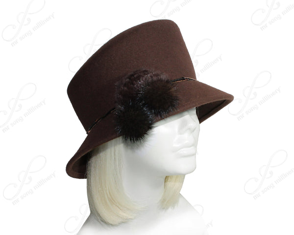 Mr. Song Millinery Softest Felt Slant Crown Bucket Cloche Hat - Brown