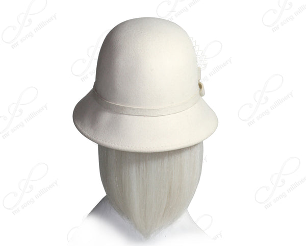 Mr. Song Millinery Softest Felt Bell Cloche Hat - White