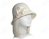 Softest Felt Bell Cloche Hat - White