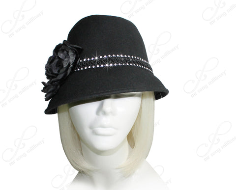 Felt Fedora Hat With Tiffany Brim - Black