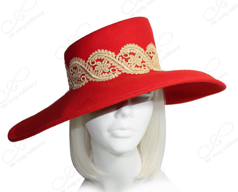 Felt Wide Oval Brim Hat With Lace - Red/Gold