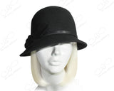 Felt Cloche Hat With Bias Brim And Simple Accent - Black