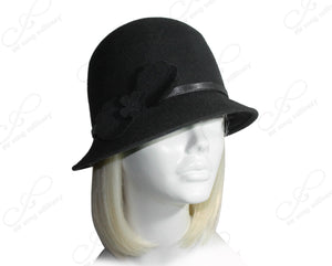 Mr. Song Millinery Felt Cloche Hat With Bias Brim And Simple Accent - Black