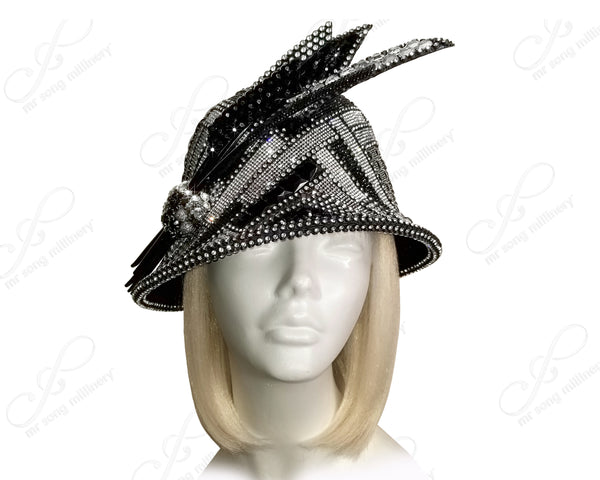 Pavéd Bell Cloche Hat - Black/Crystal