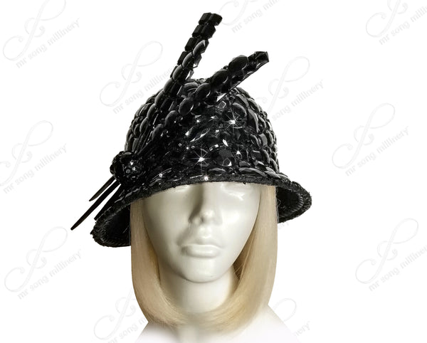 Pavéd Beaded Bell Cloche Hat - 2 Styles