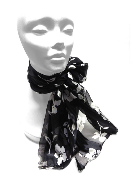 Mr. Song Millinery Floral Satin Opaque & Sheer Panel Scarf - 2 Colors
