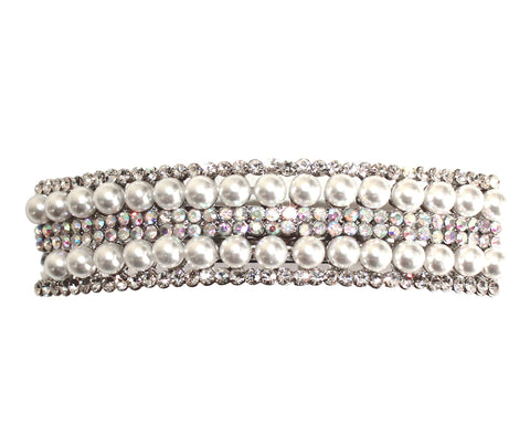Mr. Song Millinery Pearl & Rhinestone Hair Barrette Clip - Pearl/Crystal
