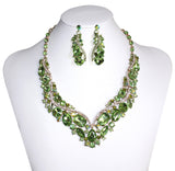 Rhinestone Jewel Necklace & Earrings - 2 Colors