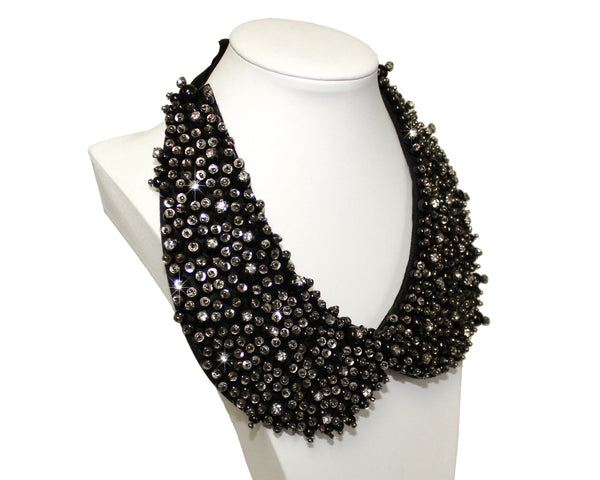 Mr. Song Millinery Jeweled Bib Necklace Tie - Black