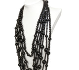 Beaded Multi-Layer Necklace & Earrings - Black