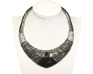 Mr. Song Millinery Gradient Jet-Crystal-Hematite Necklace - Black