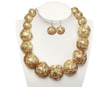 Art Deco Necklace And Earrings - Pearl/Gold