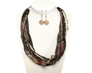 Mr. Song Millinery Multi-Layer Drape Necklace And Earrings Jewelry Set