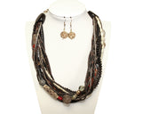 Multi-Layer Drape Necklace And Earrings Jewelry Set