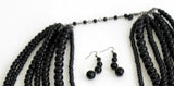 Beaded Stacked Multi-Layer Necklace And Earrings Jewelry Set - White
