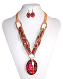 Gorgeous Pendant Necklace + Earring Set - Red