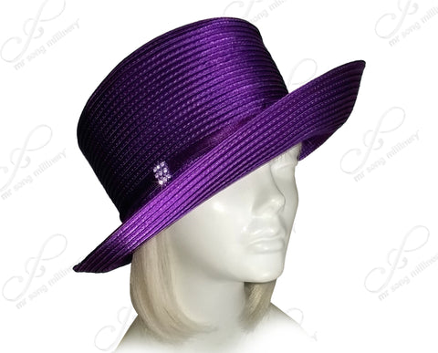 Mr. Song Millinery Medium Turned-Up Brim Hat With Simple Accent - Assorted Colors