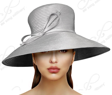 Medium-Large Width Tiffany Brim Hat With Knot Bow Accent - 7 Colors
