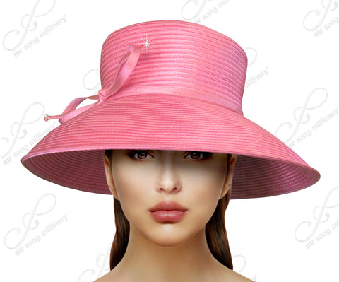 Medium-Large Width Tiffany Brim Hat With Knot Bow Accent Rose Pink