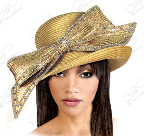 Turned-Up Brim Hat With Signature Rhinestoned Bow -  Assorted Colors