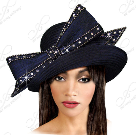 Turned-Up Brim Hat With Signature Rhinestoned Bow - Q36