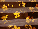 Floral Satin Opaque & Sheer Panel Scarf - 2 Colors