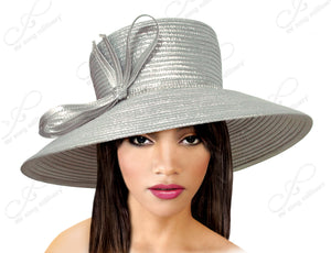 Mr. Song Millinery Medium-Large Width Tiffany Brim Hat With Knot Bow Accent - Silver