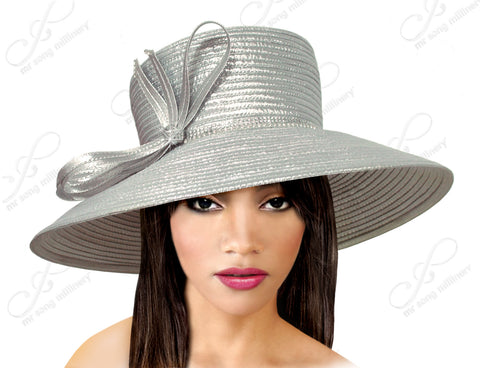Medium-Large Width Tiffany Brim Hat With Knot Bow Accent - Silver