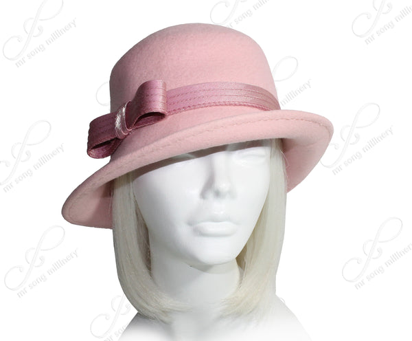 Mr. Song Millinery Softest Felt Fedora Cloche Hat With Turned-Up Brim - 3 Colors
