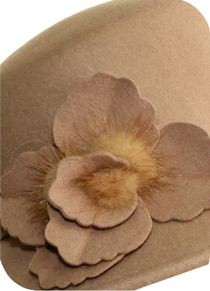 Mr. Song Millinery Softest Felt Bucket Style Hat - Camel Beige