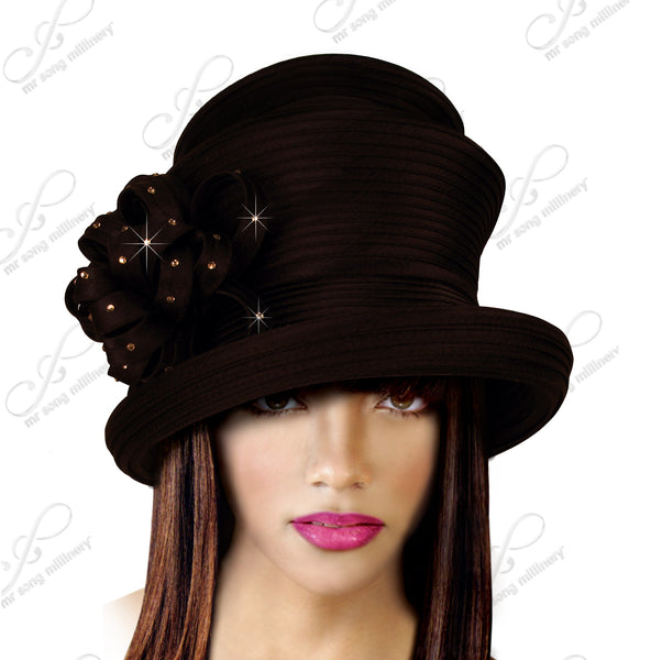 Mr. Song Millinery Medium Tiffany Brim Hat With 2-Tier Crown - 3 Colors