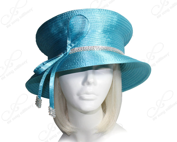 Mr. Song Millinery Mushroom Crown Rhinestone All-Season Hat - 5 COLORS