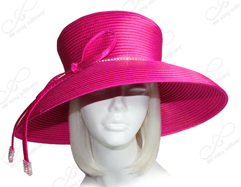 Fuchsia Pink - Mr. Song Millinery Wide Tiffany Brim Hat With Knot Bow & Rhinestone Accent