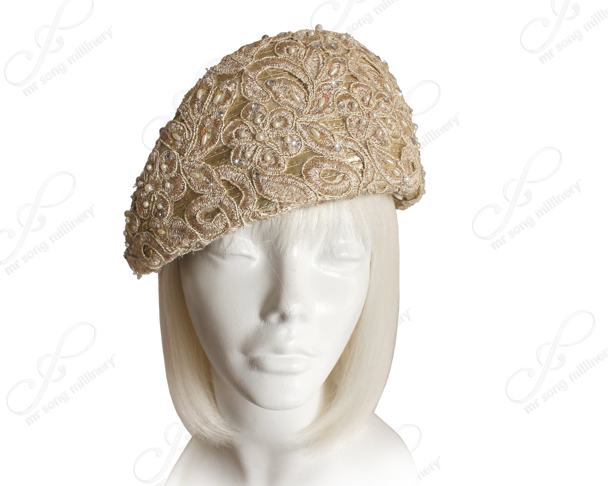 Mr. Song Millinery Structured Beret Cloche Hat Pavéd Premium Lace - Gold