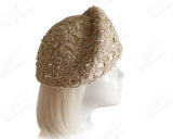 Structured Beret Cloche Hat Pavéd Premium Lace - Gold