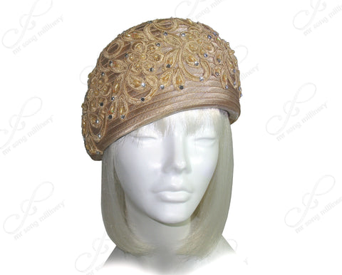 Beret Cloche Hat With Premium Lace & Rhinestone Accent - Beige