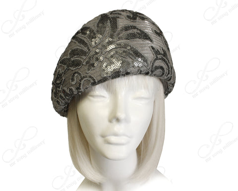 Beret Cloche Hat With Premium Lace - Grey