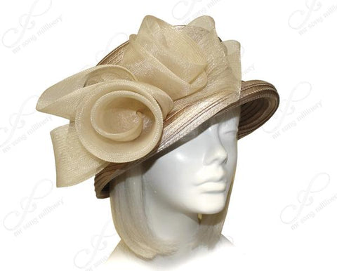 Mr. Song Millinery Medium Brim Hat Brim With Crin Flower & Rhinestone Band - Beige