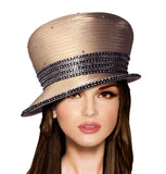 Bubble Cloche Slant Brim Hat With Crystal Rhinestones - 6 Colors