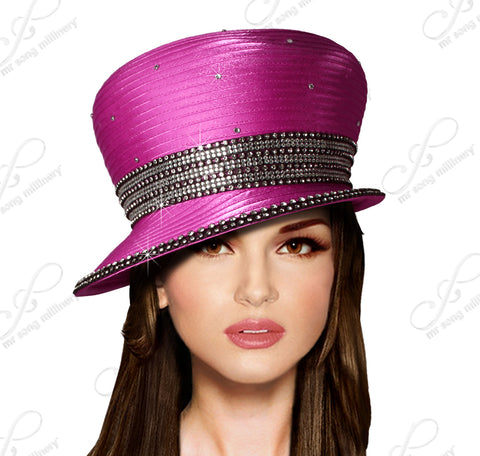Bubble Cloche Slant Brim Hat With Crystal Rhinestones - 4 Colors
