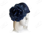 Beret Cloche Hat With Rhinestone Organza Floral Accent - Navy Blue