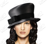 Small Width Brim Hat With Slant Top Crown - Q21