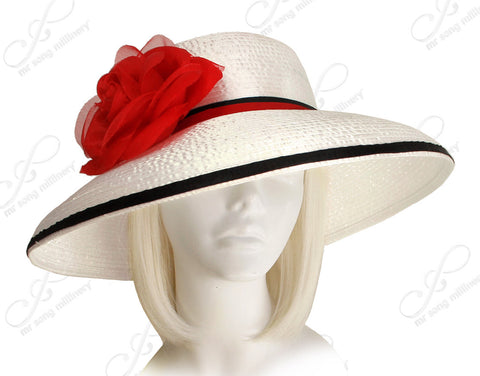 Classic Round Crown Wide Tiffany Brim Hat - OffWhite/Black/Red