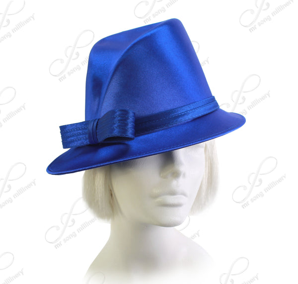 Mr. Song Millinery Satin Fedora with Bias Slant Brim - 4 Colors